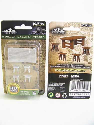 PREORDER - WZK72593 - Pathfinder Deep Cuts Wave 4 - Unpainted Miniatures - Wooden Table & Stools