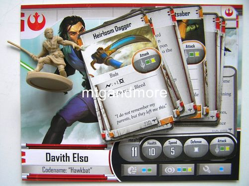 Star Wars Imperial Assault - Davith Elso Codename Hawkbat Hero + Stat-Cards