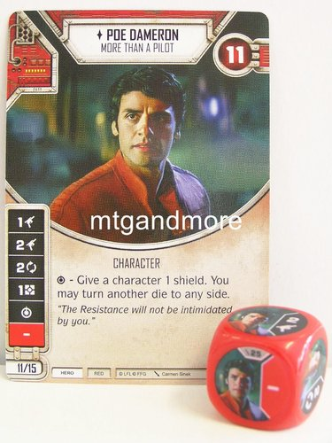 Star Wars Destiny - #025 Poe Dameron + Die - red - Force Friday Starter