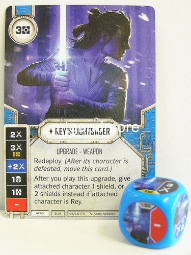 Star Wars Destiny - #030 Rey's Lightsaber + Die - blue - Force Friday Starter
