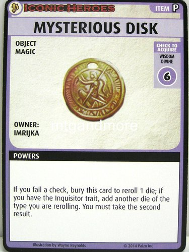 Pathfinder Battles – Mysterious Disk Boon Card - Iconic Heroes