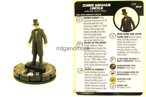 Heroclix - #008 Zombie Abraham Lincoln - Undead