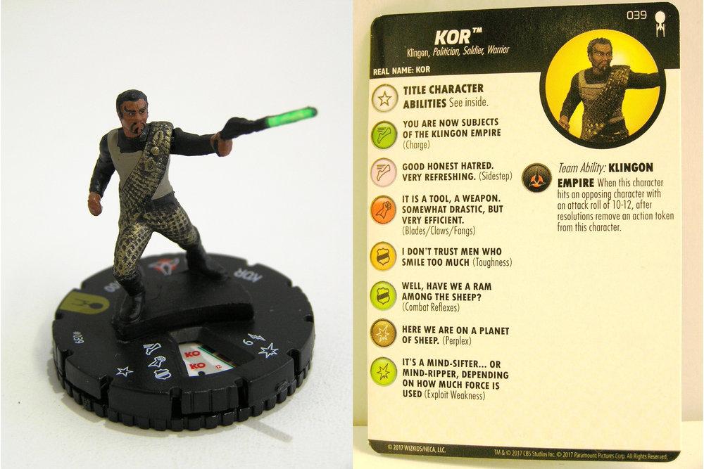 Heroclix Star Trek Away Team Set Kor #039 Super Rare w// Card
