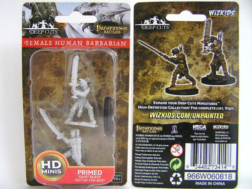 WZK73414 - Pathfinder Deep Cuts Wave 6 - Unpainted Miniatures - Female Human Barbarian