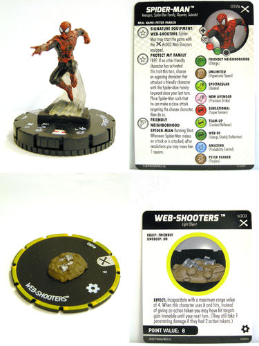 Heroclix - #037a Spider-Man + #s003 Web-Shooters - Earth X