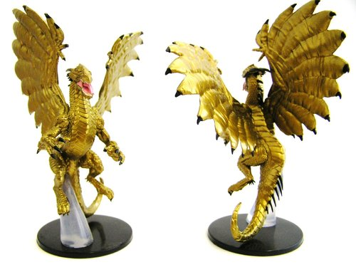 Pathfinder Battles - #026 Large Gold Dragon Large Figure - Ruins of Lastwall