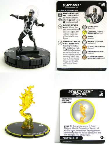 HeroClix - #042 Black Bolt with s001 Reality Gem (Infinity Gem) - Black Panther and the Illuminati