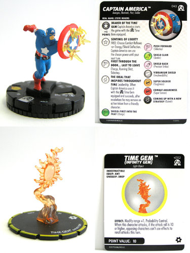HeroClix - #043 Captain America with s002 Time Gem (Infinity Gem) - Black Panther and the Illuminati