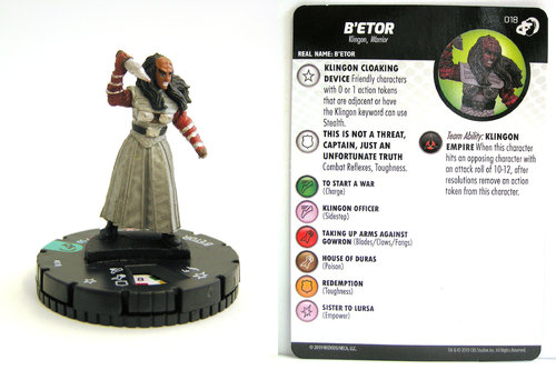 HeroClix - #018 B'etor - Star Trek Resistance is Futile